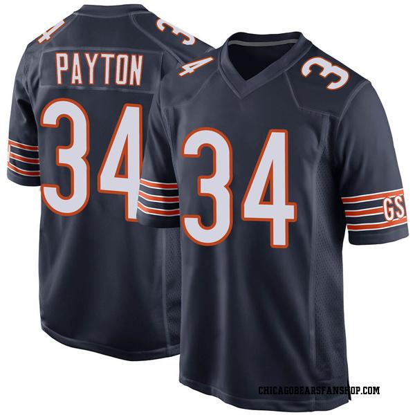 Men's Walter Payton Chicago Bears Game Navy 100th Season Jersey