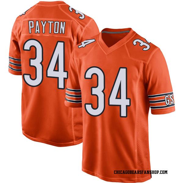 Men's Walter Payton Chicago Bears Game Orange 100th Season Jersey