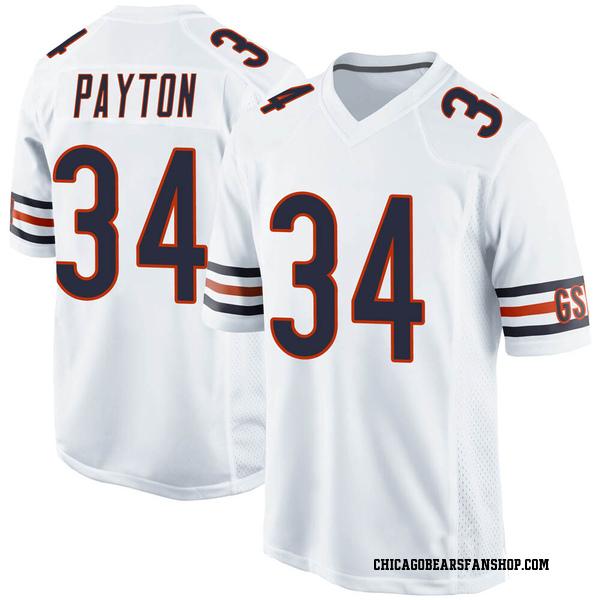 Men's Walter Payton Chicago Bears Game White 100th Season Jersey