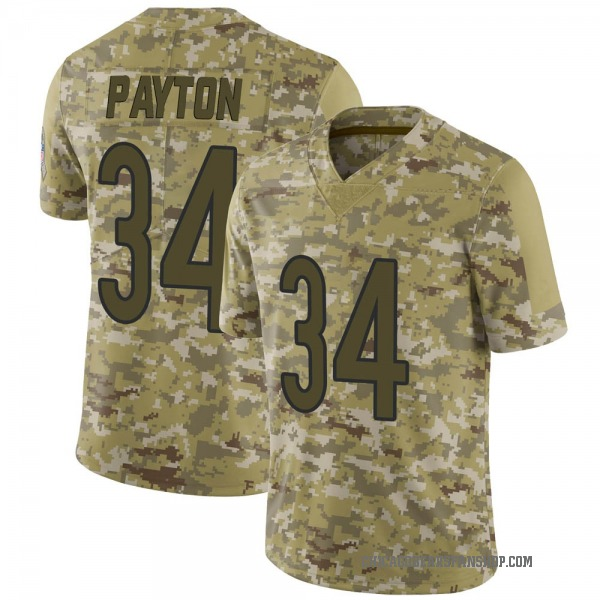 Men's Walter Payton Chicago Bears Limited Camo 2018 Salute to Service Jersey