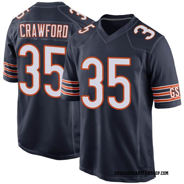 Men's Xavier Crawford Chicago Bears Game Navy 100th Season Jersey