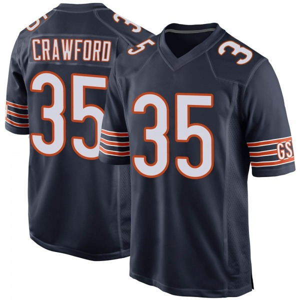 Men's Xavier Crawford Chicago Bears Game Navy Team Color Jersey