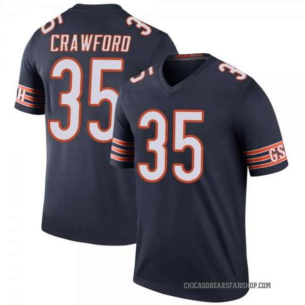 Men's Xavier Crawford Chicago Bears Legend Navy Color Rush Jersey