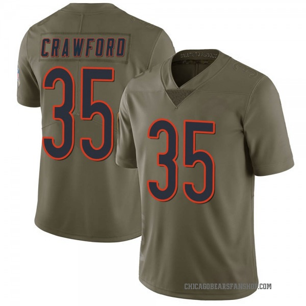Men's Xavier Crawford Chicago Bears Limited Green 2017 Salute to Service Jersey
