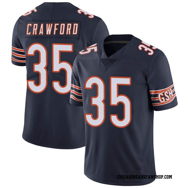Men's Xavier Crawford Chicago Bears Limited Navy 100th Season Jersey