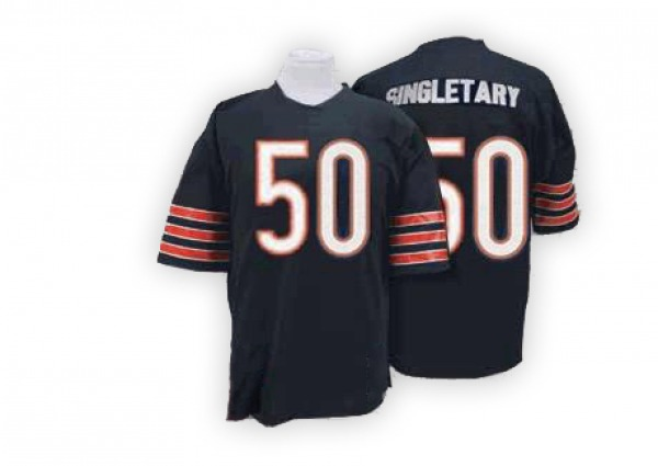 Mike Singletary Chicago Bears Authentic Blue Mitchell And Ness Team Color With Big Number Throwback Jersey