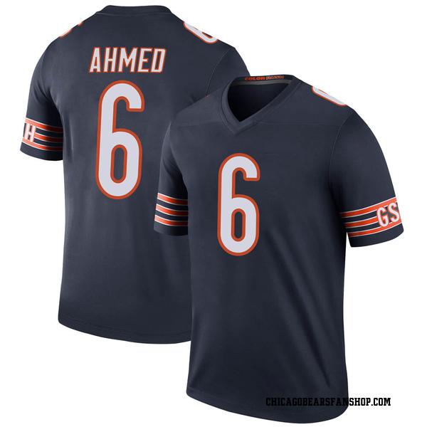 Ramiz Ahmed Chicago Bears Legend Navy Color Rush Jersey