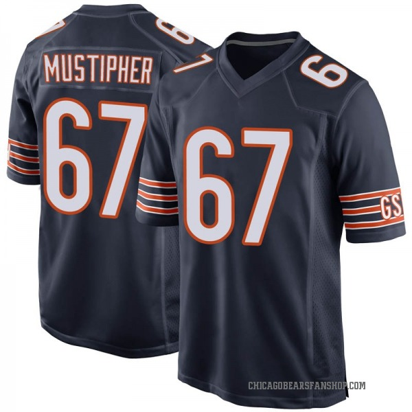 Sam Mustipher Chicago Bears Game Navy Team Color Jersey