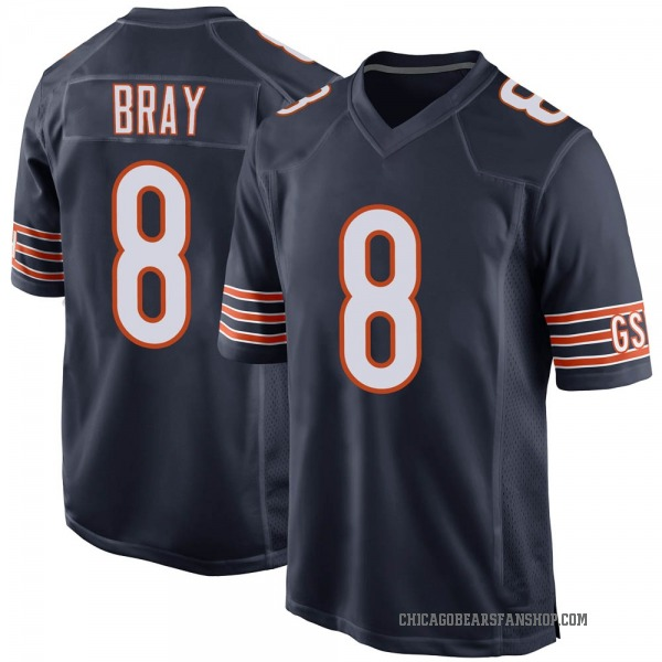 Tyler Bray Chicago Bears Game Navy Team Color Jersey