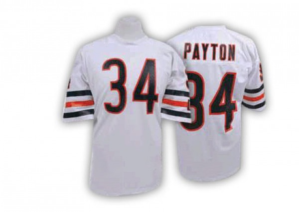Walter Payton Chicago Bears Authentic White Mitchell And Ness Big Number With Bear Patch Throwback Jersey