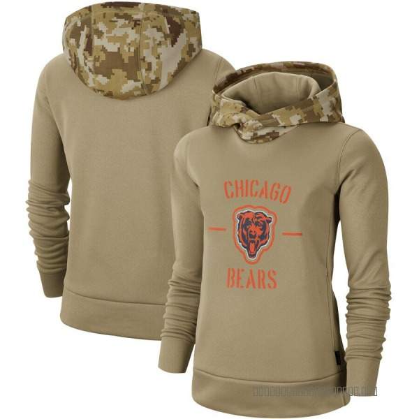 Women's Chicago Bears Khaki 2019 Salute to Service Therma Pullover Hoodie
