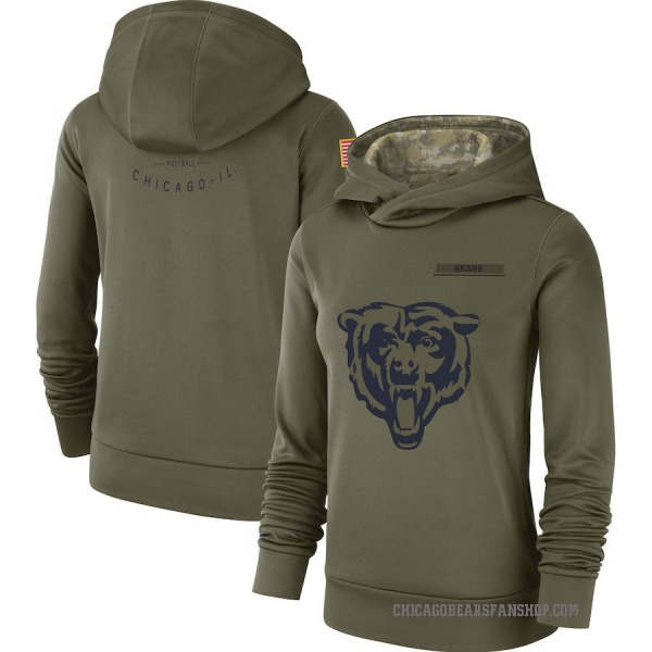 Women's Chicago Bears Olive 2018 Salute to Service Team Logo Performance Pullover Hoodie