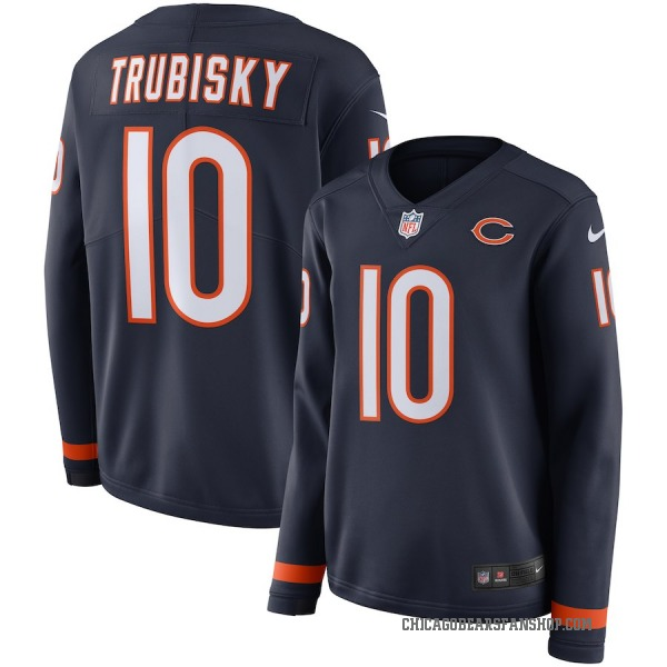 Women's Mitchell Trubisky Chicago Bears Navy Therma Long Sleeve Jersey