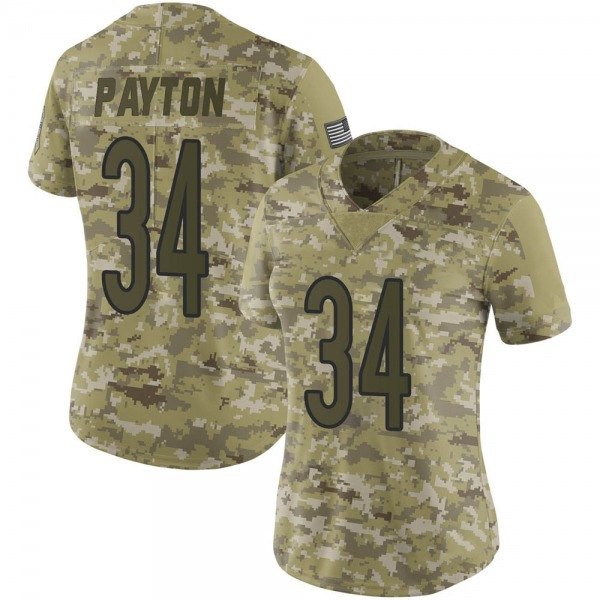 Women's Walter Payton Chicago Bears Limited Camo 2018 Salute to Service Jersey