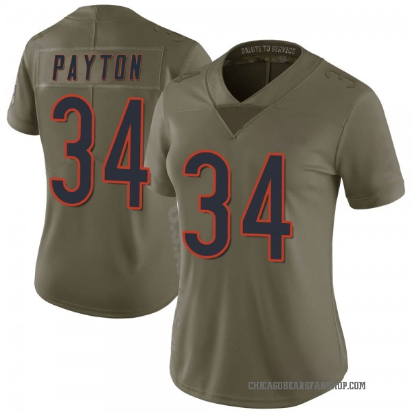 Women's Walter Payton Chicago Bears Limited Green 2017 Salute to Service Jersey