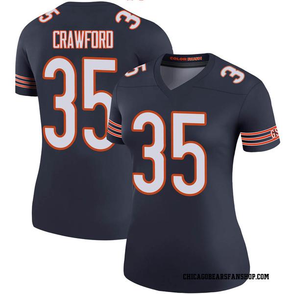 Women's Xavier Crawford Chicago Bears Legend Navy Color Rush Jersey
