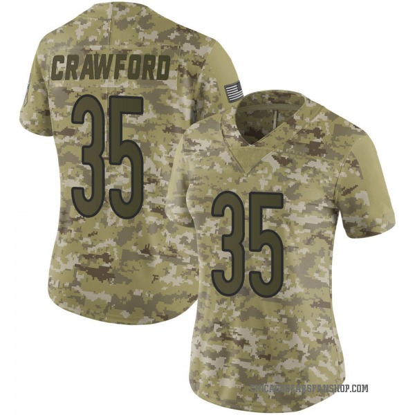 Women's Xavier Crawford Chicago Bears Limited Camo 2018 Salute to Service Jersey