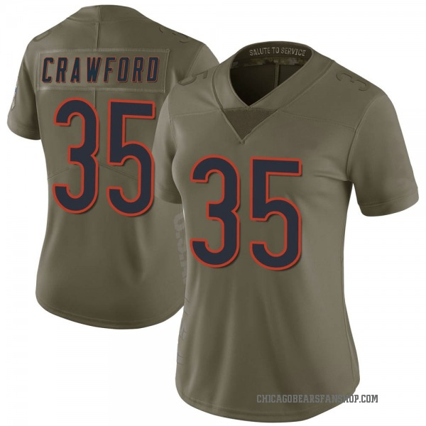 Women's Xavier Crawford Chicago Bears Limited Green 2017 Salute to Service Jersey