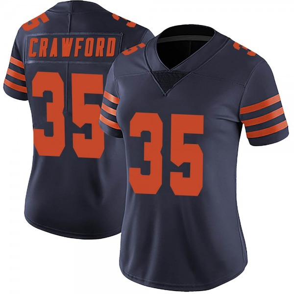 Women's Xavier Crawford Chicago Bears Limited Navy Blue Alternate Vapor Untouchable Jersey