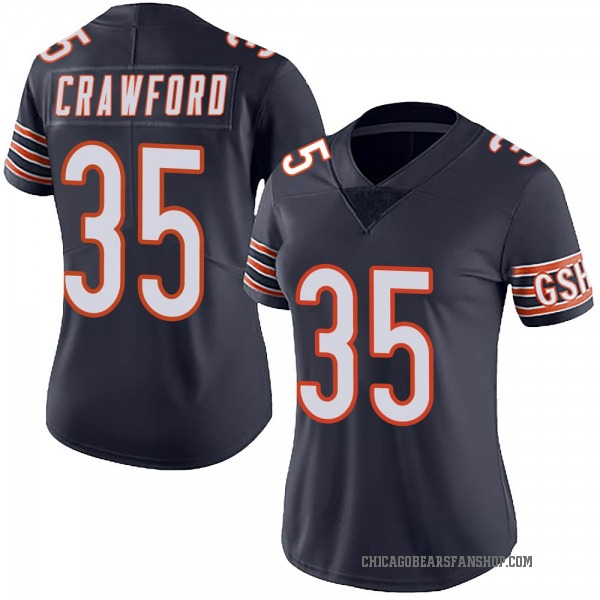 Women's Xavier Crawford Chicago Bears Limited Navy Team Color Vapor Untouchable Jersey