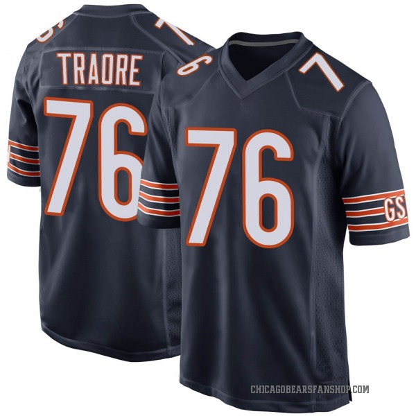 Youth Badara Traore Chicago Bears Game Navy Team Color Jersey