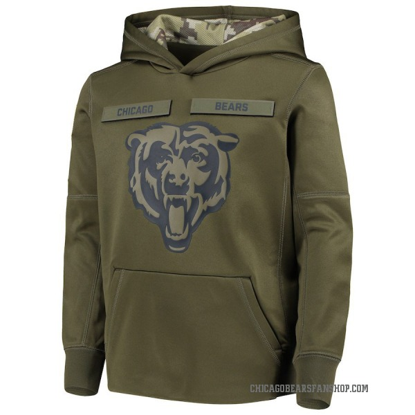 Youth Chicago Bears Green 2018 Salute to Service Pullover Performance Hoodie