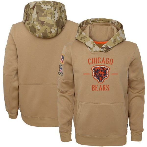 Youth Chicago Bears Khaki 2019 Salute to Service Therma Pullover Hoodie