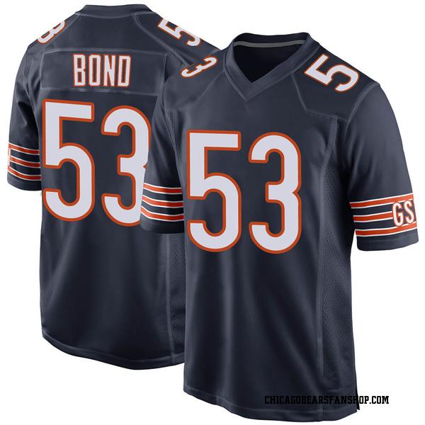 Youth Devante Bond Chicago Bears Game Navy 100th Season Jersey