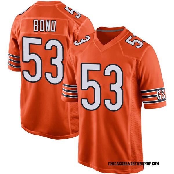 Youth Devante Bond Chicago Bears Game Orange 100th Season Jersey