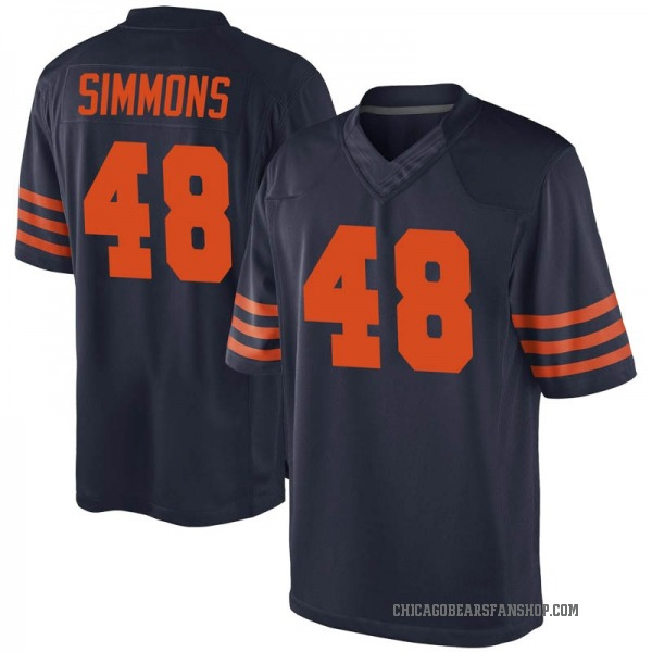 Youth Joshua Simmons Chicago Bears Game Navy Blue Alternate Jersey
