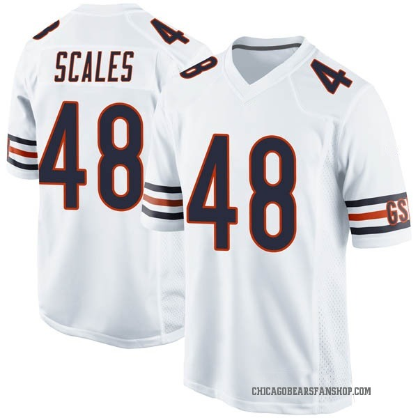 Youth Patrick Scales Chicago Bears Game White Jersey