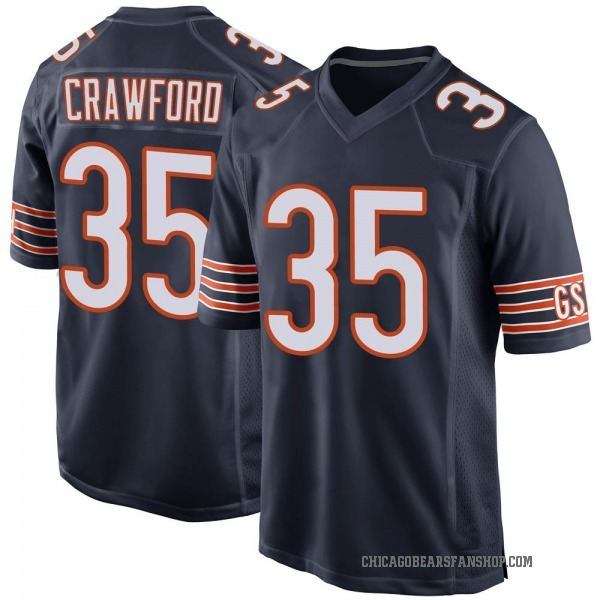 Youth Xavier Crawford Chicago Bears Game Navy Team Color Jersey