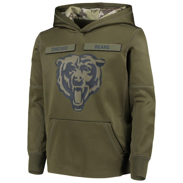 Chicago Bears Green 2018 Salute to Service Pullover Performance Hoodie