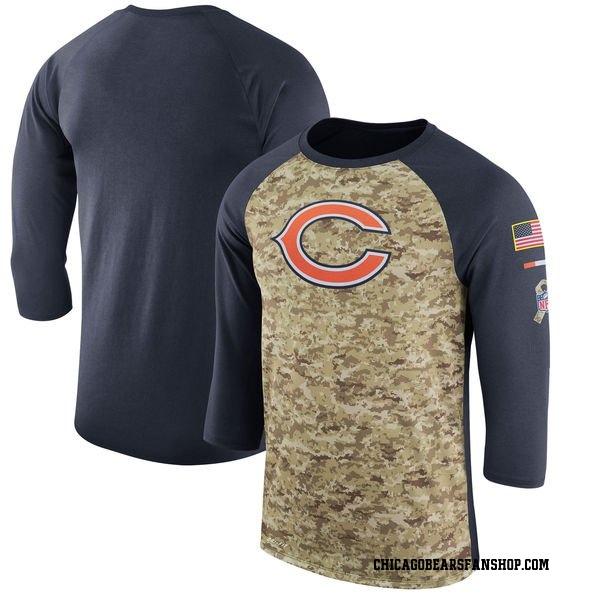 Chicago Bears Legend Camo /Navy Salute to Service 2017 Sideline Performance Three-Quarter Sleeve T-Shirt