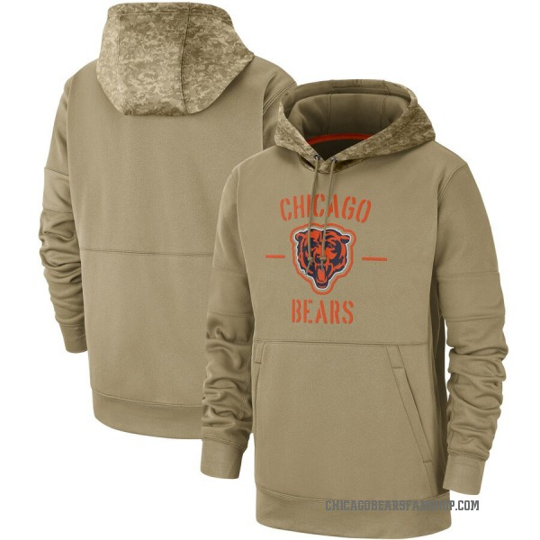 Chicago Bears Tan 2019 Salute to Service Sideline Therma Pullover Hoodie